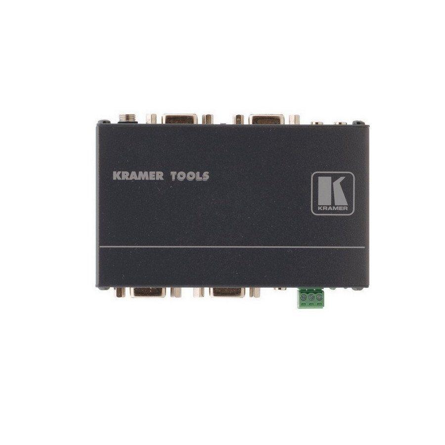 Przełącznik automatyczny 2x1 sygnałów VGA RGBHV i niesymetrycznych stereo.wyjście LOOP. Przetwarzanie synchro Kr-isp®, wejście priorytetowe, wskaźniki LED