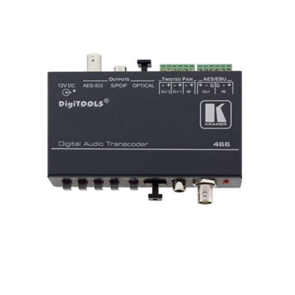 Dwukieunkowy transkoder audio z 4 formatów audio, np po skrętce, na 4 formaty cyfrowe i dwie skrętki. 4 wejścia / 4 wyjścia, AES-ID3, AES/EBU, S/PDIF, Toslink