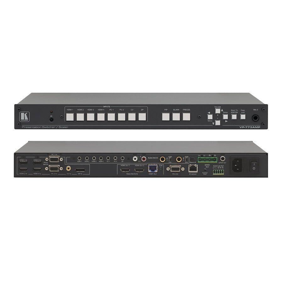Hub prezentacyjny skaler 1080p/2K, PiP, kluczowanie. Wejścia 4x HDMI, 2x VGA, kompozyt, DisplayPort, 8x stereo, S/PDIF, 2x mikrofon. Wyjścia 2x HDMI, HDBaseT, S/PDIF, stereo, wzmacniacz 2x 10W.
