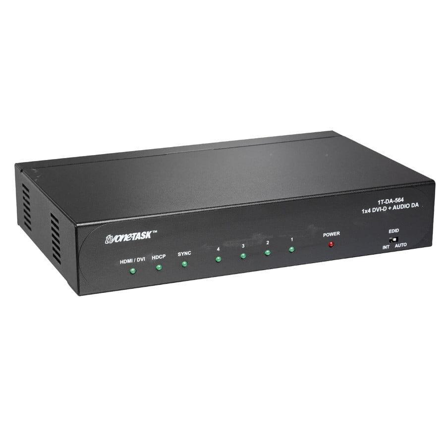 Rozdzielacz DVI 1:4 Deep Color do 12-bitów , posiada 4 wyjścia DVI-D. Dodatkowo obsługuje audio: 1x4 stereo analogowe oraz 1x4 S/PDIF koaksjalne Rozdzielacz DVI 1:4 Deep Color do 12-bitów , posiada 4 wyjścia DVI-D. Dodatkowo obsługuje audio: 1x4 stereo analogowe oraz 1x4 S/PDIF koaksjalne, Dolby TrueHD, Dolby Digital + DTS-HD Master Audio