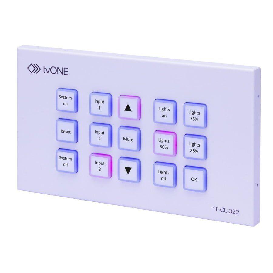 Panelsterujący z 15 konfigurowalnymi przyciskami. Zarządzanie z przeglądarki i IP, PoE, dwukolorowe podświetlenie, 128 komend i 15 makr, 2 przekaźniki