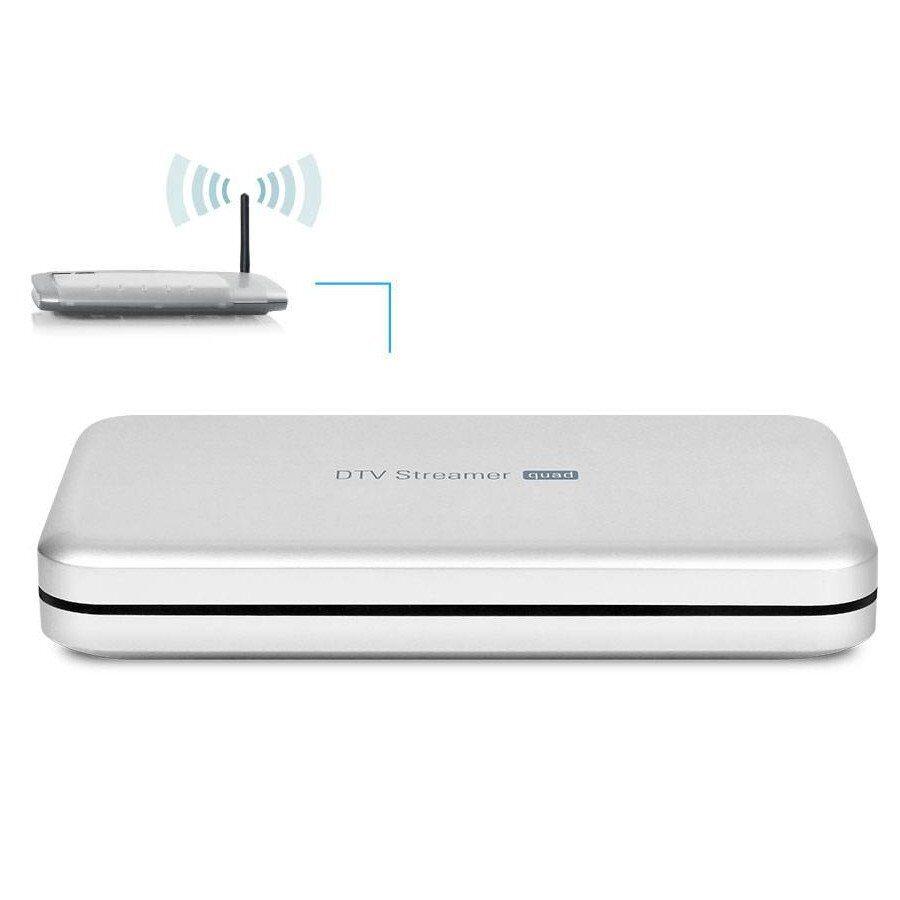 Poczwórny tuner DVB-T /DVB-T2 strumieniujący kanały DVB-T na komputery, telefony i tablety z systemem Windows, Mac OS, Android lub iOS. Odbiera kanały HD. Możliwość przechwytywania.Poczwórny tuner DVB-T /DVB-T2 strumieniujący kanały DVB-T na komputery, telefony i tablety z systemem Windows, Mac OS, Android lub iOS. Odbiera kanały HD. Możliwość przechwytywania.