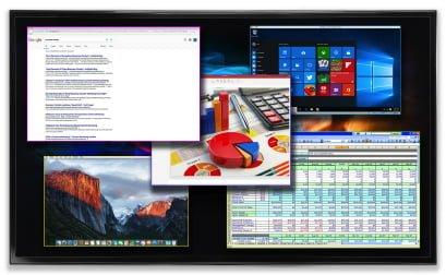 System prezentacyjny, multiviewer do konferencji, wykładów, wyjścia 2x 1080p@60 lub 4k HDMI 2.0a, 5 wejść, do 5 okien (max 4 streamy wideo) na max 2 ekranach. Edycja okien, rozmiaru, położenia, blending, audio. Ethernet, WiFi. Windows, Mac, Android i IOS.