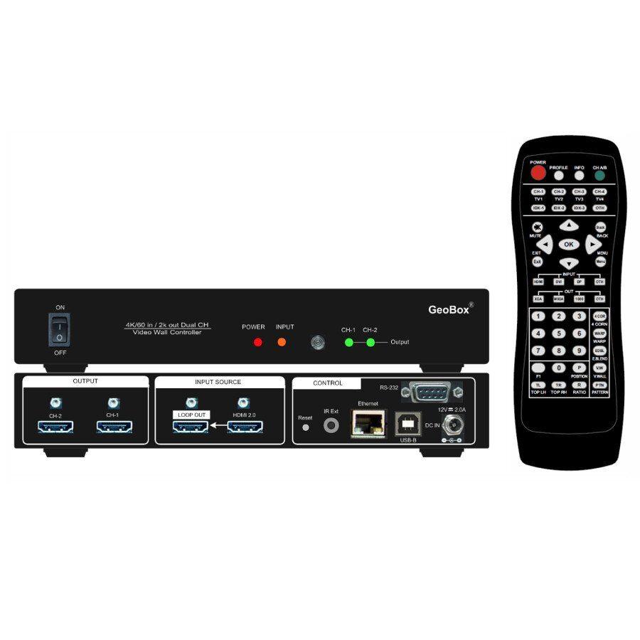 Procesor ściany wideo 2 monitorowej, 1 wejście 8K1K @30Hz lub 4K @60Hz HDMI, wyjście HDMI Loop. Wspiera sterowanie z pilota, Rs232, LAN, USB. Łączenie kaskadowe.