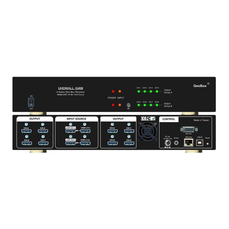Procesor ściany wideo 8-monitorowej, 2 wejścia 8K1K@30Hz lub 4K@60Hz HDMI, sterowanie z pilota, RSW-232, LAN, USB. Możliwość łączenia w kaskady