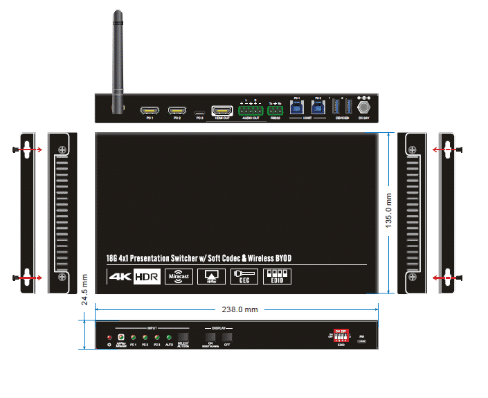 SCU41-BYOD wireless switch 4K softcodec panel