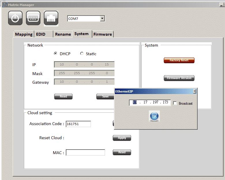 MA5544HIZ HDMI matrix 4x4 cloud presets custom names for devices