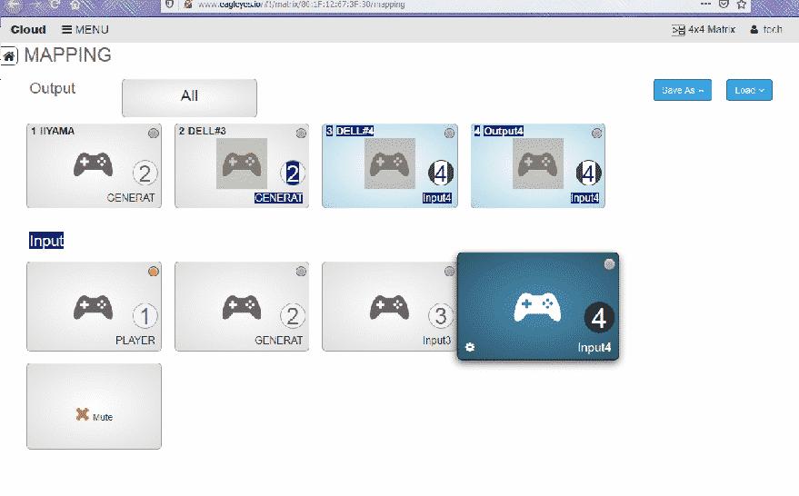 HDMI Matrix 4x4 web interface presets names sources edit