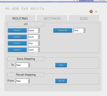 MA5544HIZ HDMI matrix 4x4 web intrface presets custom names for devices