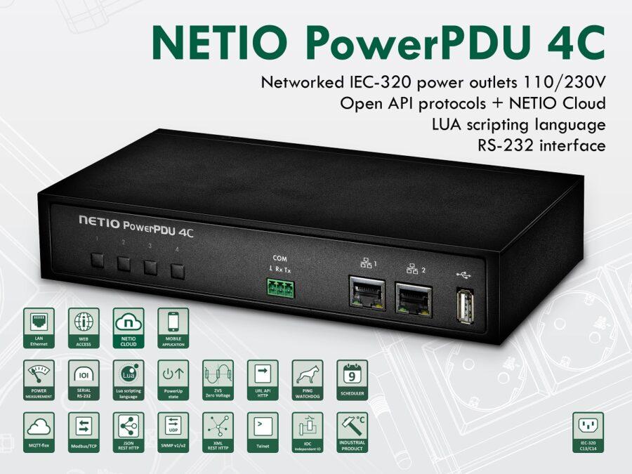 NETIO PowerPDU 4C - mały moduł zdalnego sterowania zasilaniem i pomiaru mocy z 4 wyjściami.