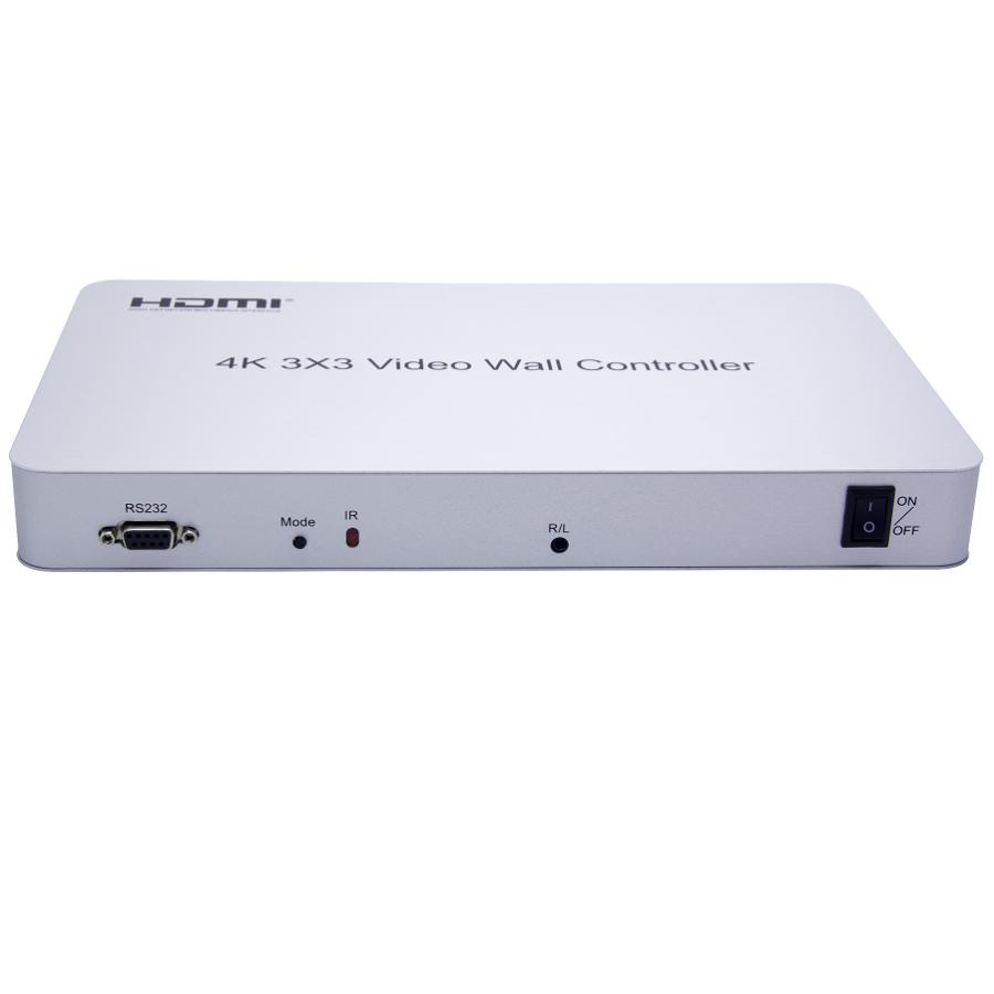 Kontroler 9-monitorowej ściany wideo HDMI 4K 3x3. Wejścia: 1x HDMI, wyjścia: 9x HDMI. Pozwala na utworzenie ściany wideo w 13 konfiguracjach.