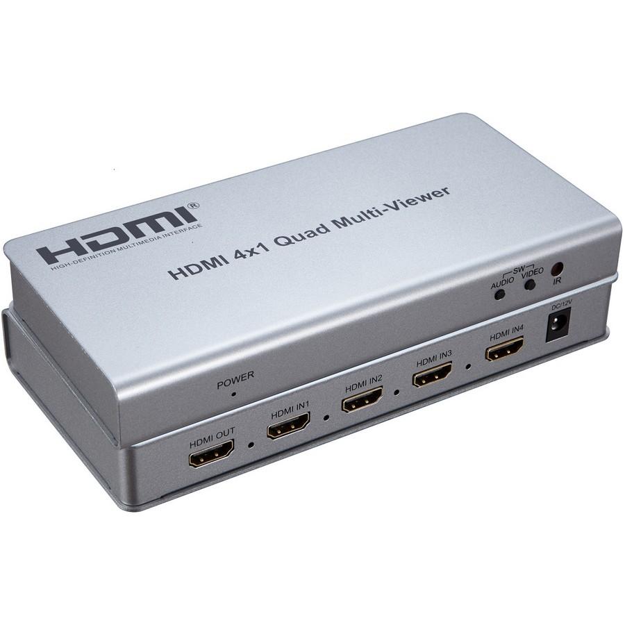 Multiviewer, przełącznik czterech wejść HDMI na jedno wyjście quad HDMI z przełączaniem bezszwowym. Maksymalna obsługiwana rozdzielczość: 1080p 60Hz. Możliwość ustawienia do 4 trybów okien. Obsługiwane audio na wyjściu: PCM2.0.