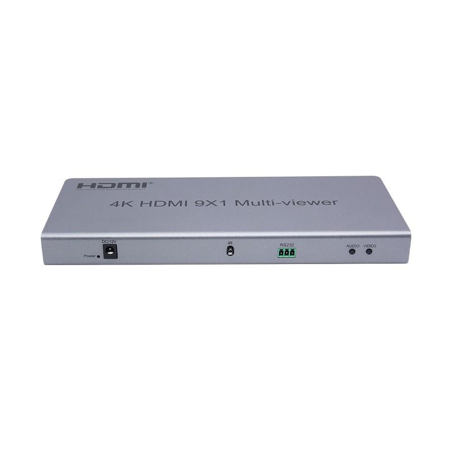 Multiviewer HDMI 4k, przełącznik bezszwowy 9x1. 11 trybów okien.