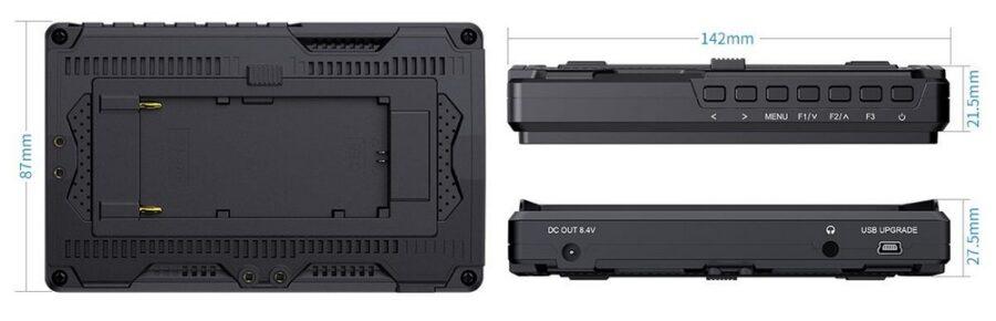 """Monitor podglądowy LCD 5,5"""", dotykowy ekran IPS, LED, 1920x1080, we/wy: 1x HDMI - zgodne z 4K 30Hz, wyjście słuchawkowe, kontrast: 1000:1."""