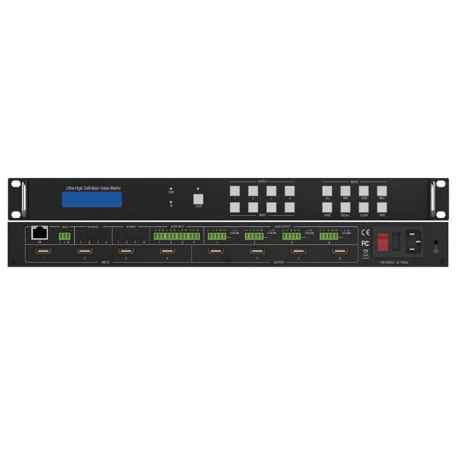 Matryca HDMI 2.0 4x4 18Gb/s, niezależne skalowanie 4k do 1080p, konwersja FPS powyżej 60Hz, 16-bit, EDID, ARC, deembedder, niezależny routing audio na analog i coax.