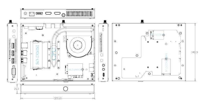 Giada D611 8K 2xHDMI DP USB-C drawings
