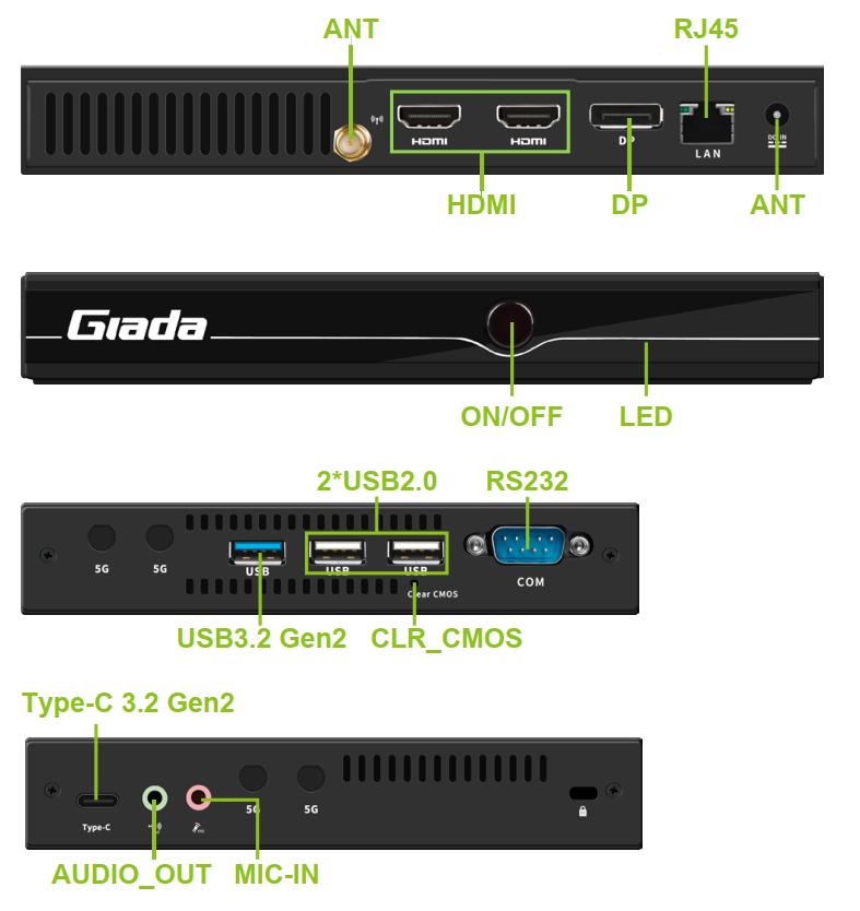 komputer odtwarzacz digital signage D611 8K 2xHDMI DP