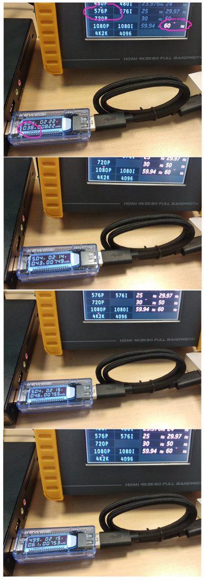 grabber Power current vs Video format resolution framerate